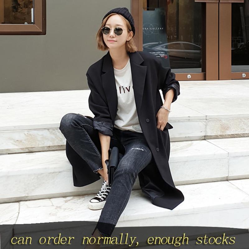 LANMREM New Spring Fashion Women Clothes Loose Koreasn Fashion Black Long Jacket Casual Black Windbreaker Single Breasted YH970