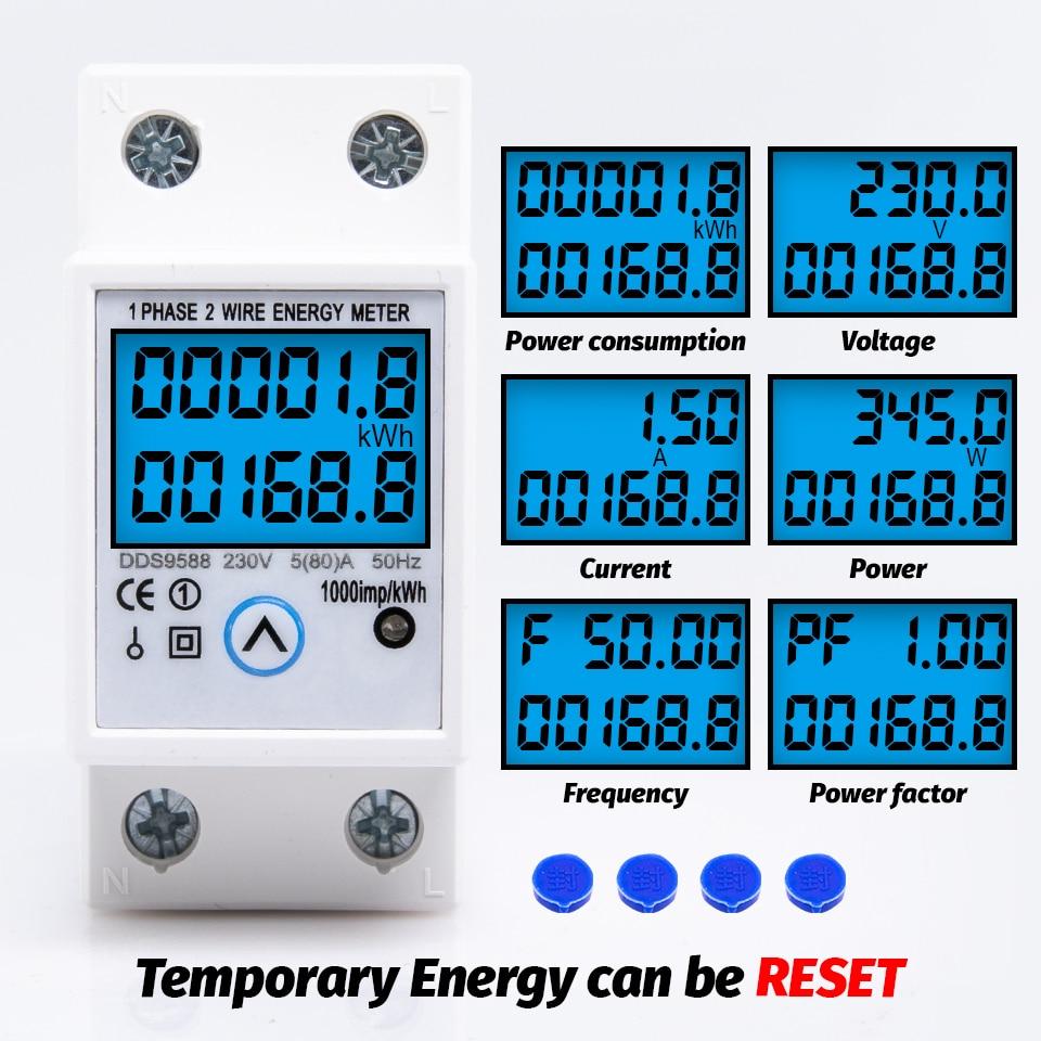 Consumo de energia atual da tensão do kwh do medidor de energia zero da restauração digital da fase monofásica do trilho do ruído eletricidade contador do wattmeter 230v