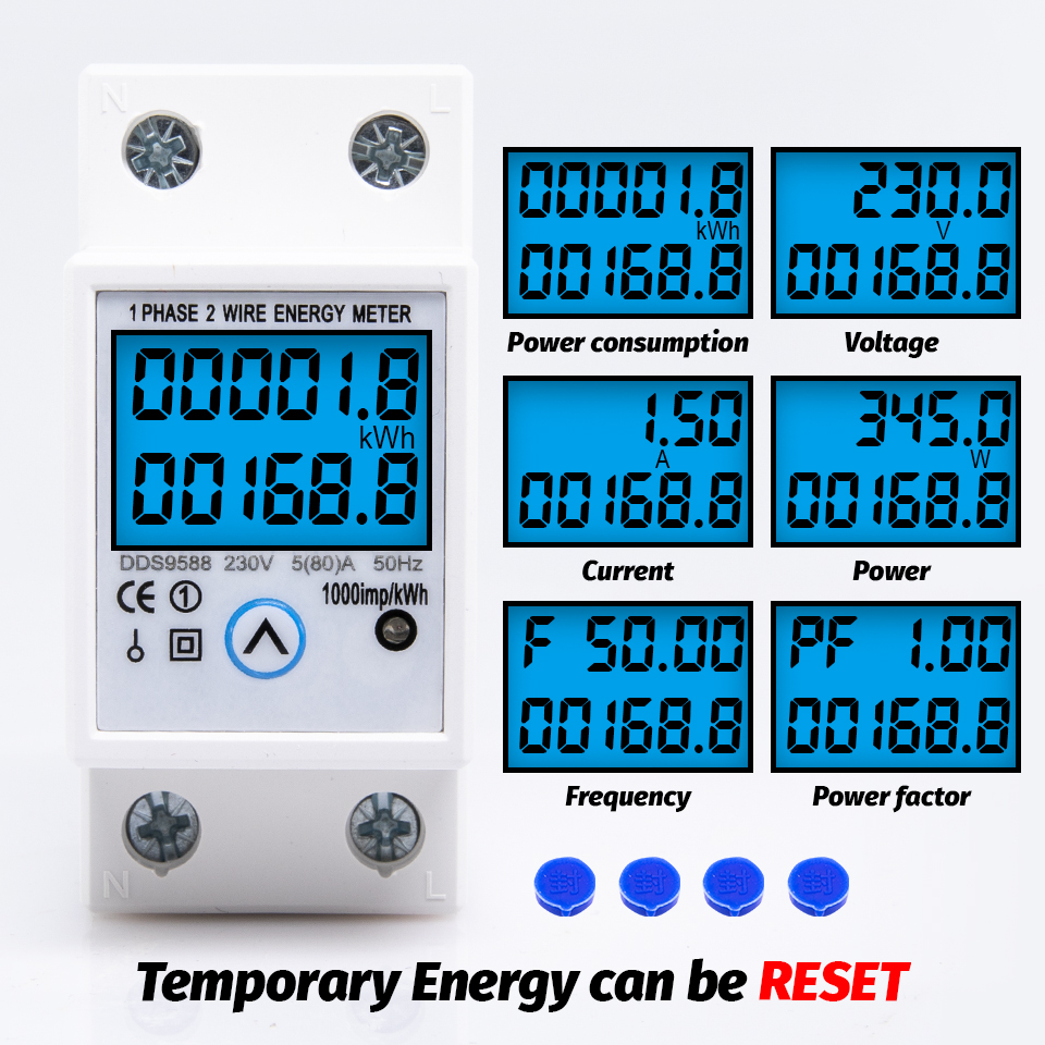 Din Rail Single Phase Energy Meter Reset Zero kWh Voltage Current Power Consumption Counter Electric Digital Wattmeter 230V AC