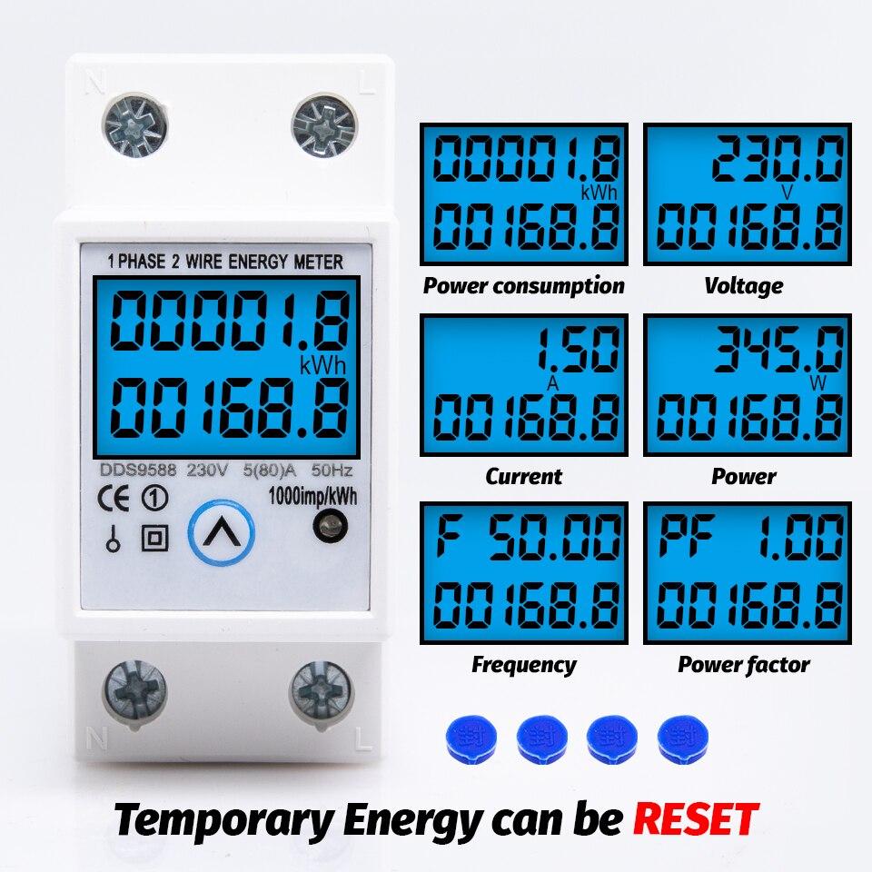 Однофазный счетчик энергии на Din-рейку, сброс нуля кВт/ч, счетчик напряжения и потребления тока, электрический цифровой ваттметр 230 В перемен...