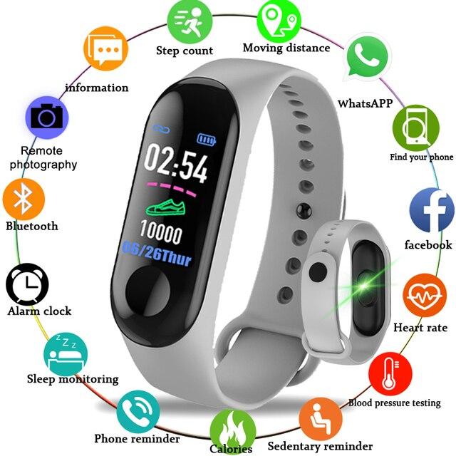 Pulsera inteligente M3 ip67impermeable para hombre y mujer, reloj inteligente deportivo con control del ritmo cardíaco y resistente al agua