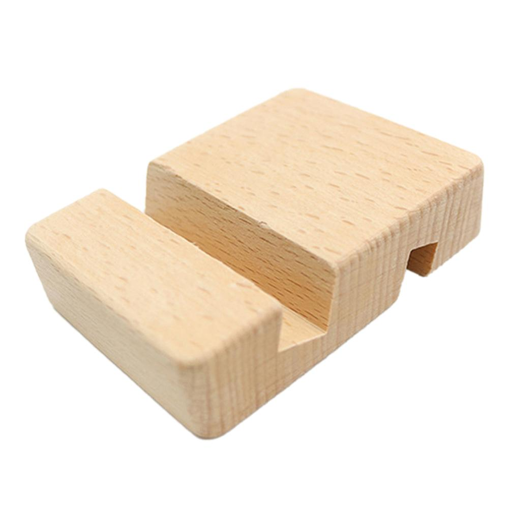 Natural Bamboo Mobile Phone Desktop Holder Double Slot Universal Smart Phone Mount Stand For IPhone Huawei Xiaomi Samsung