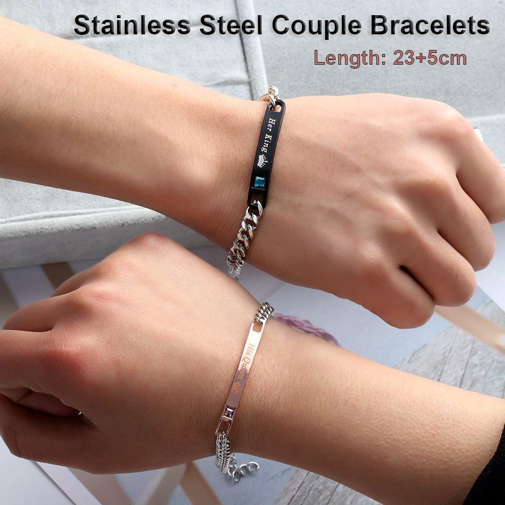 2020 Love Bangle Men Women Her King His Queen Couple Bracelets Titanium Steel Crystal Crown Charm Wrist Chain Valentine's gift