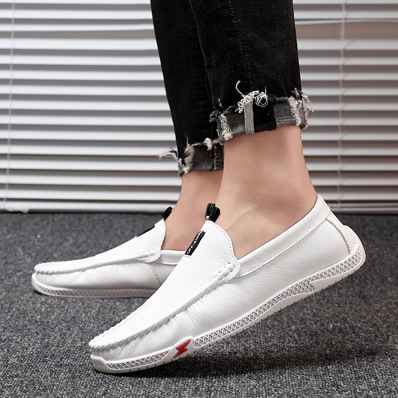 Leather Men Loafers Moccasins White Mens Driving Shoes Italian Penny Loafers Shoes Handmade Casual Boat Shoes Soft Male Flats