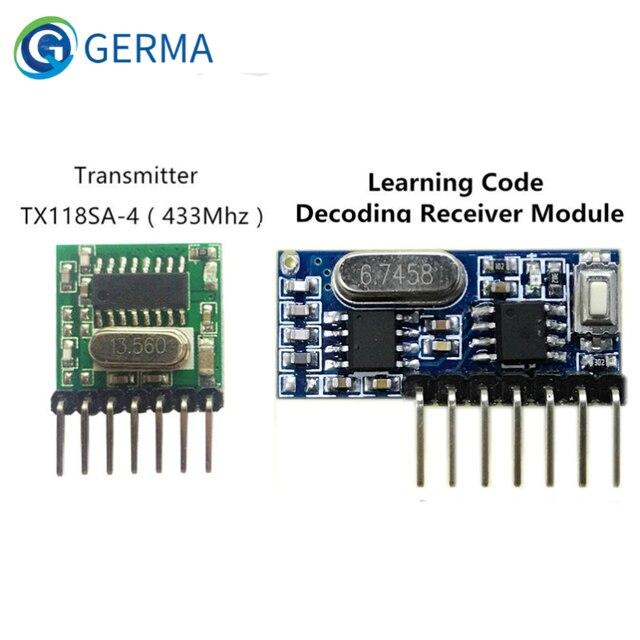 GERMA 433mhz 무선 와이드 전압 코딩 송신기 + 디코딩 수신기 433 Mhz 원격 제어용 4 채널 출력 모듈