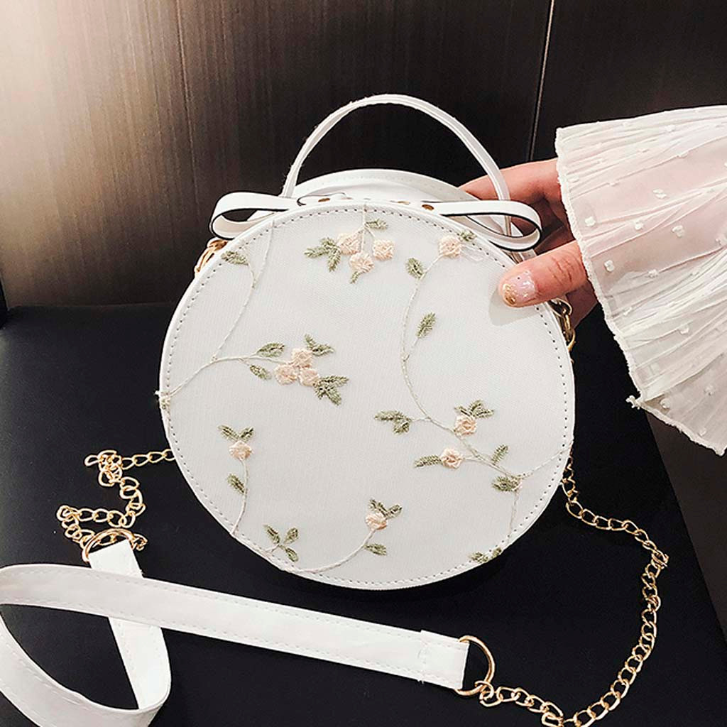 Hot Sale Sweet Lace Round Handbags High Quality PU leather Women Crossbody Bags Female Small Fresh Flower Chain Shoulder #N(China)