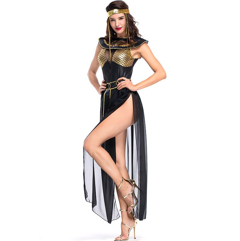 2019 Deluxe Cleopatra Costume Sexy Women Ancient Egyptian Pharaoh Clothing Adult Halloween Party Cosplay Egypt Queen Long Dress
