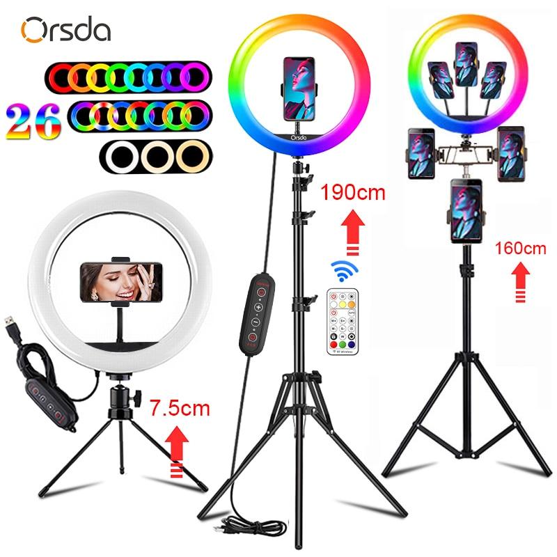 Orsda 10 13 Inch RGB Ring Light Tripod LED Ring Light Selfie Ring Light with Stand Home v7 VC