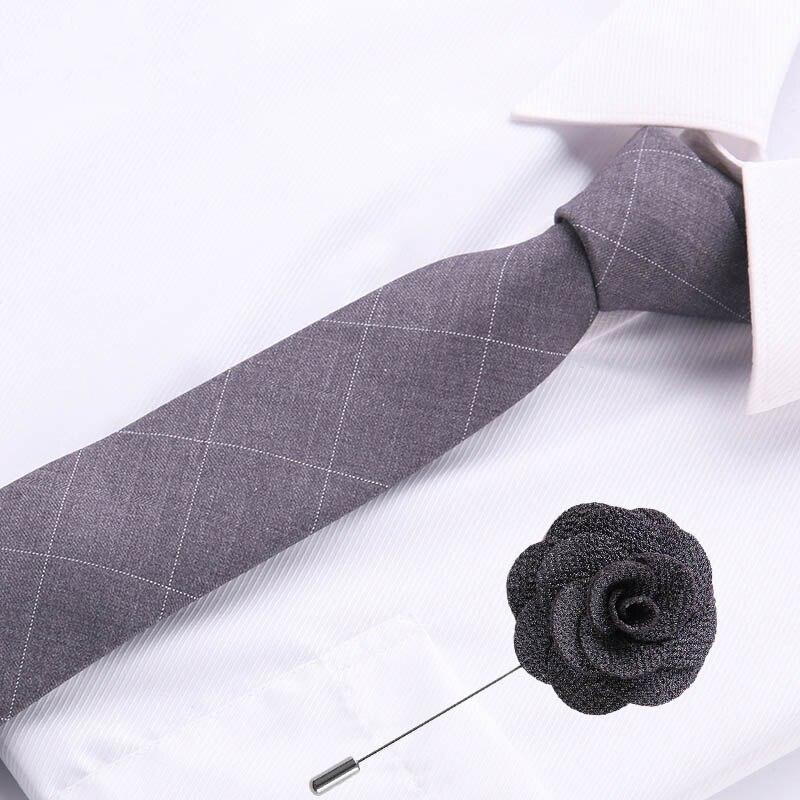 Formal Business Jacquard Polyester Tie For Men Woven Brooch Necktie Grey Pink Blue Black Color 6.5 Cm Narrow Skinny Tie