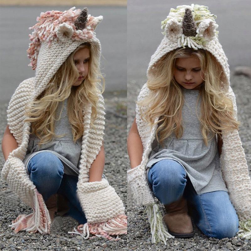 Capuche tricoté laine pour enfants