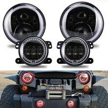 90W Bluetooth App Controlled 7 inch LED Headlights 4 inch Fog Light Combo Halo Ring RGB for Jeep Wrangler JK CJ 1997-2017 цена 2017
