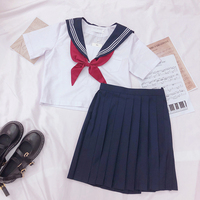 Autumn Summer Japanese School Uniforms For Girls Cute Short length Sailor Tops Pleated Skirt Full Sets Cosplay JK Costume Series