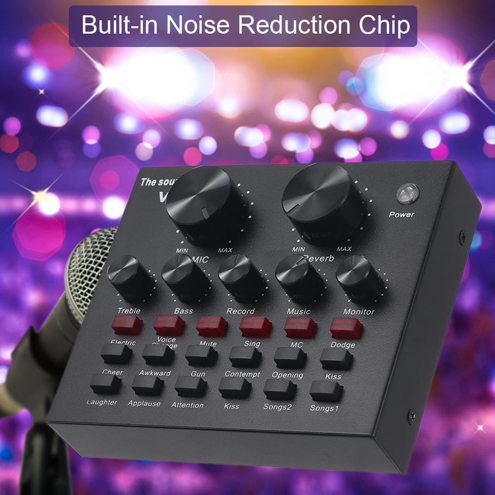 2020 новый V8 этап КТВ живой звук карта транслировать эффект смешивания пение мобильный телефон компьютер USB внешний двухканальный