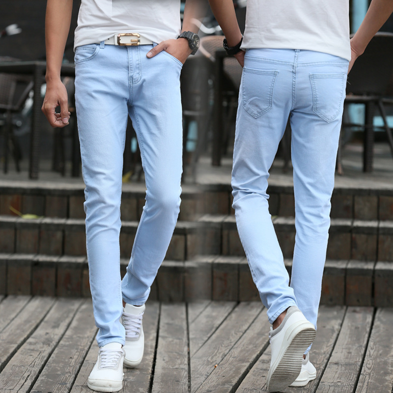 Summer Teenager Tight-Fit Stretch Denim Trousers Men Slim Fit Korean-style Trend Students Light Blue Skinny Pants