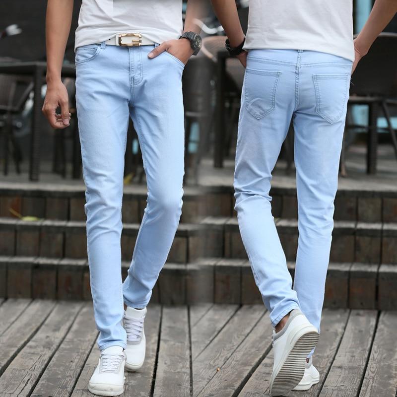 Summer Teenager Tight-Fit Stretch Denim Trousers Men Slim Fit Korean-style Trend Students Light Blue Skinny Pants