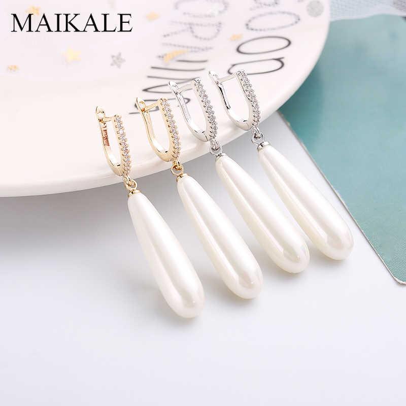 MAIKALE Long Water Drop Pearl Earrings AAA Cubic Zirconia Plated Gold Silver Needle Hypoallergenic Drop Earrings For Women Gifts