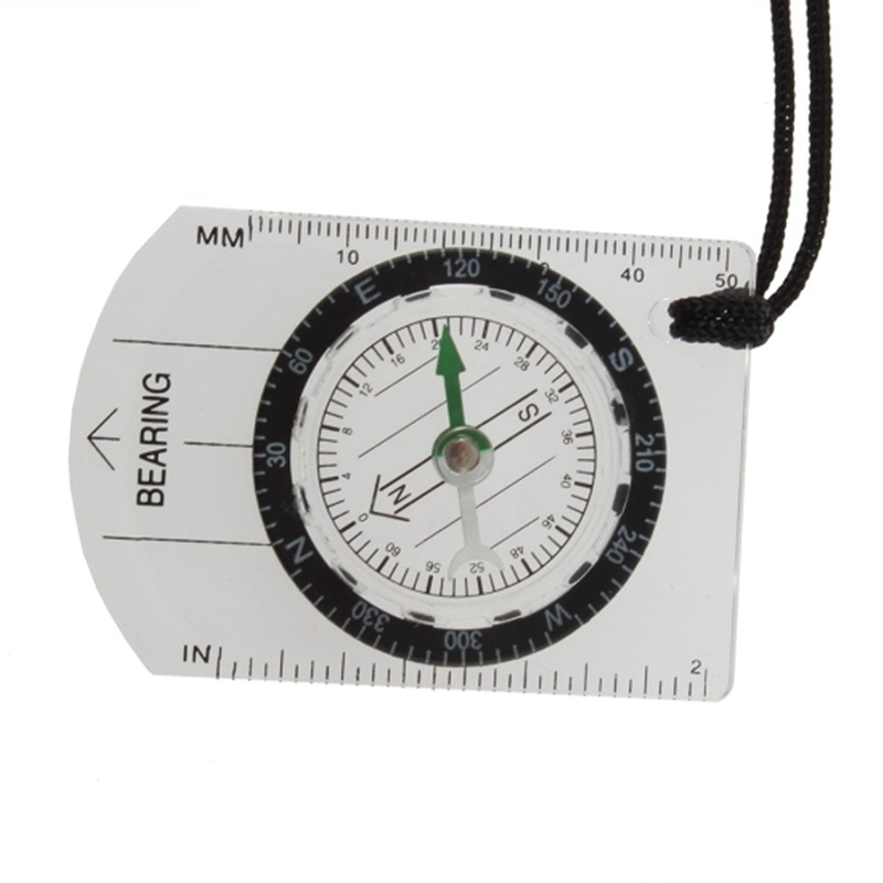 Top Mini All In 1 Outdoor Hiking Camping Baseplate Compass Map Measure Ruler