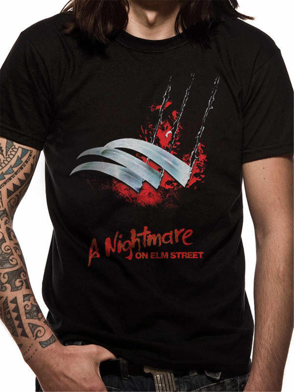 T-shirts grandes altos dos homens da rua de elm do pesadelo do cartaz das lâminas de freddy krueger