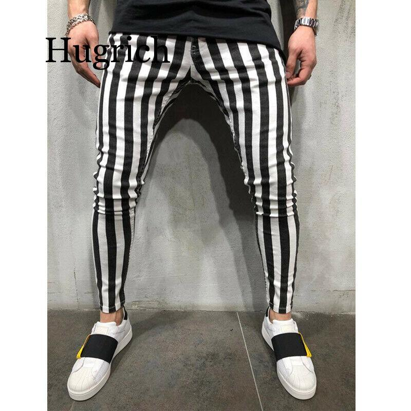 2020 New Men's Summer Fashion Slim Comfortable Striped Plaid Black White Casual Pencil Pants Men Clothes