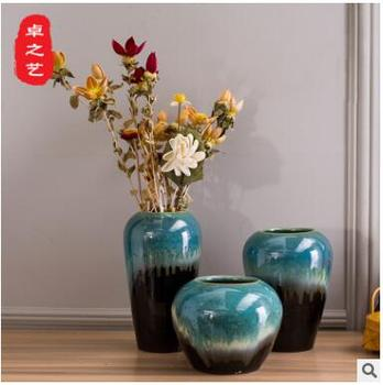 ingdezhen Ceramic Vase Three-piece Set/European Home Decoration Hand-made Ceramic Flower Arrangement