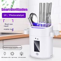 Mini Cutlery Disinfection Cabinet Solar Charging Multifunctional Intelligent Kitchen Tableware Holder Sterilizer-במדפים ומחזיקים מתוך בית וגן באתר