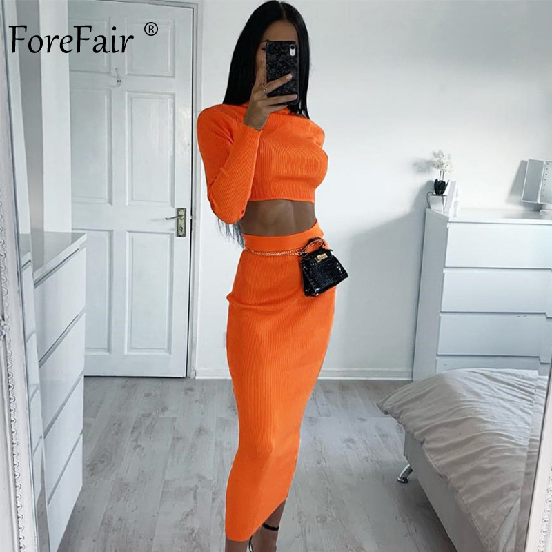 Forefair Two Piece Bodycon Dress Long Sleeve Autumn Ankle Length Slim Ribbed Turtleneck Neon Green Pink Orange Sexy Dress Women