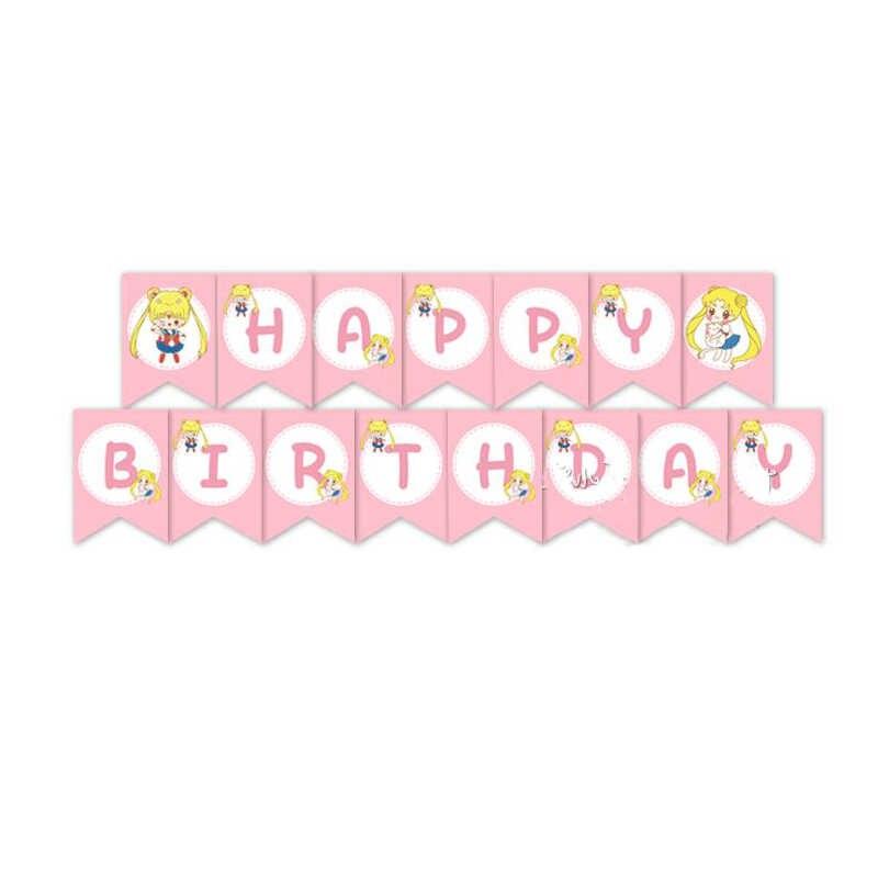 1 סט ירח סיילור ורוד נייר יום הולדת שמח באנר ילדי קישוטים למסיבת ילדים תינוקת גבתון טובות ספקי