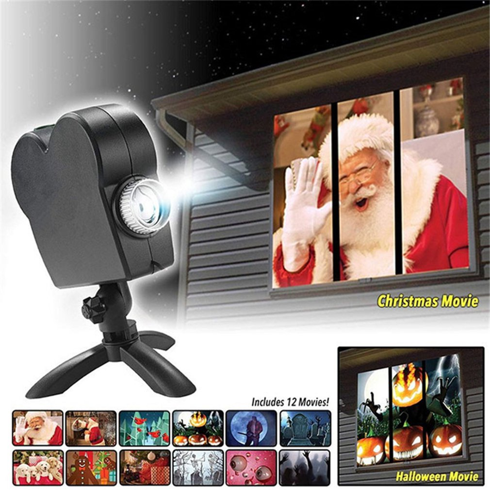 Window Display Laser DJ Stage Lamp Christmas Spotlights Projector Wonderland 12 Movies Projector Lamp Halloween Party Lights