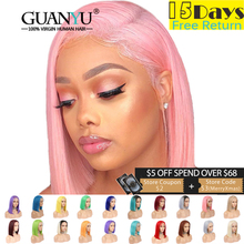 Pink Bob Lace Front Wigs Human Hair 13X4