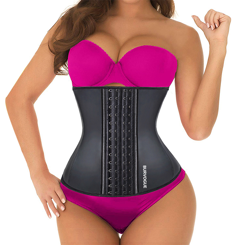 Burvogue Women Corset Waist Trainer Latex Corset Waist Control Corset and Bustier Steel Bone Underbust Slimming Shaper Corselet