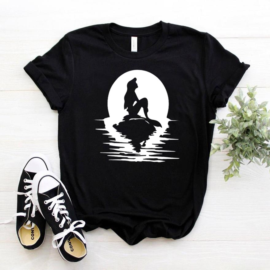 Mermaid princess Print <font><b>Women</b></font> tshirt <font><b>Cotton</b></font> Hipster Funny t-<font><b>shirt</b></font> Gift Lady Yong Girl Top Tee Drop Ship ZY-461 image