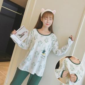 Image 5 - Hot new maternity pajamas set monthly Sleepwear Fashion long sleeved lactation Breastfeeding Nursing clothes for Pregnant Women