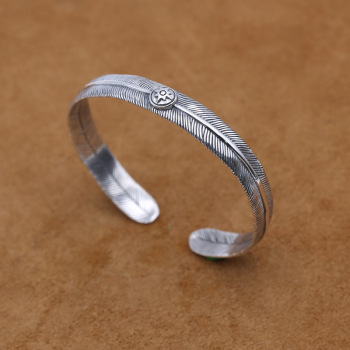 Starfield S925 Sterling Silver Jewelry Retro Thai Silver Japan Takahashi Feather Simple Men's Open Ended Bangle