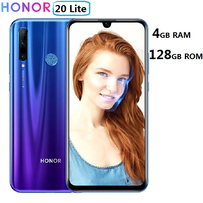 Глобальная версия Honor 20 Lite 4 Гб + 128 ГБ 6,21 дюйма смартфон 32 МП Kirin 710 Восьмиядерный Android 9,0 Face ID 4G мобильный телефон