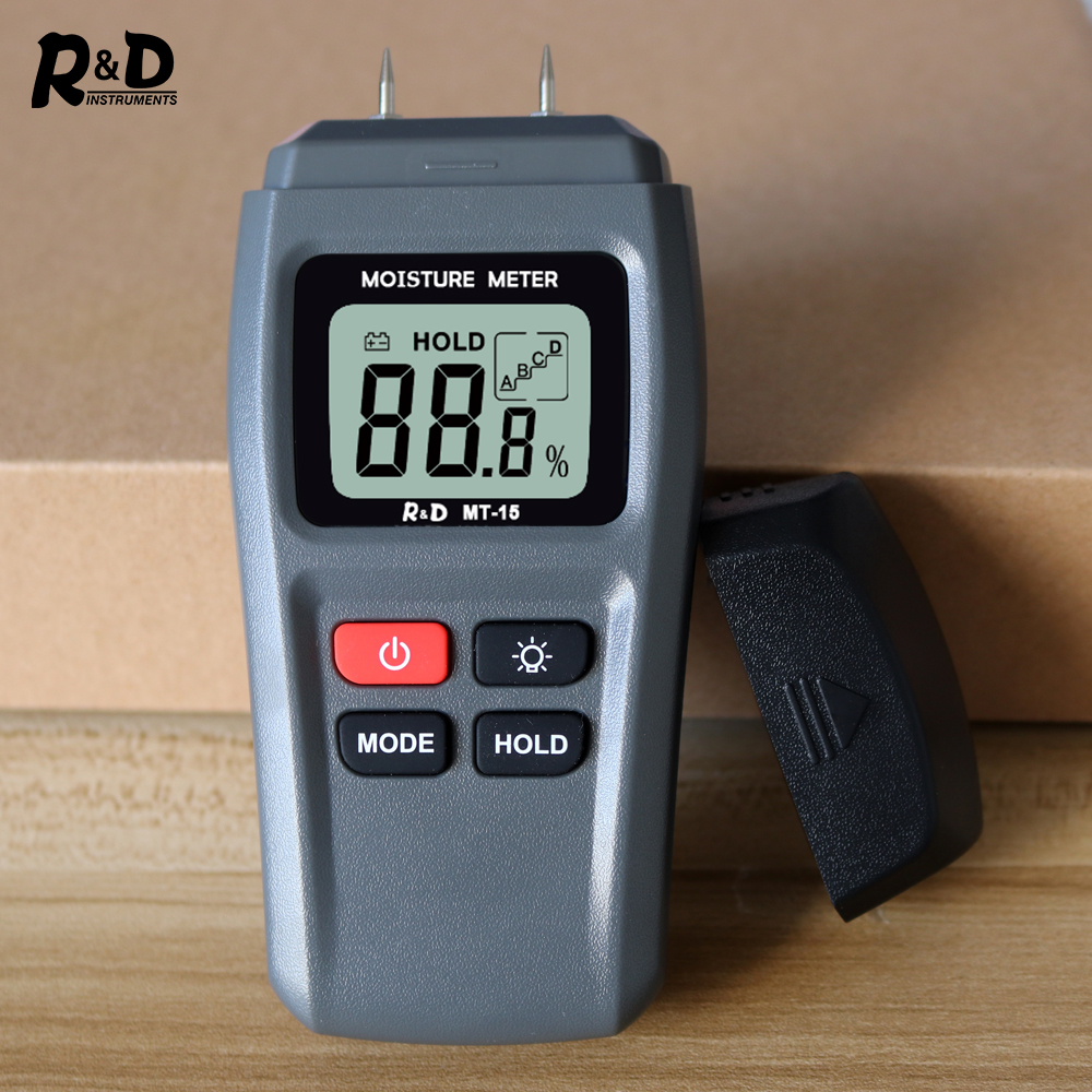 R&D MT15 Wood Moisture Meter Wood Humidity Tester Hygrometer Timber Damp Detector Tree Density Tester With Backlight Grey