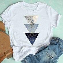Camiseta gráfico feminino bonito geométrica estética tendência casual 90s estilo manga curta moda roupas impressão camiseta feminino camiseta