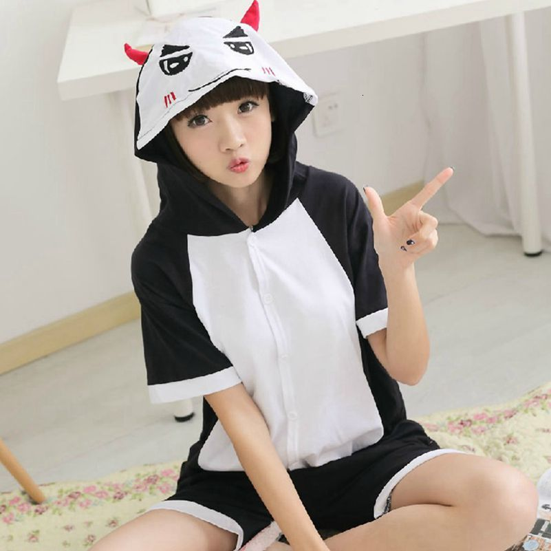Kigurumi Onesie Unisex Adult Women Demon Pajamas Costume Animal Cosplay Summer Short Sleeve Cartoon Hoodie Sleepwear