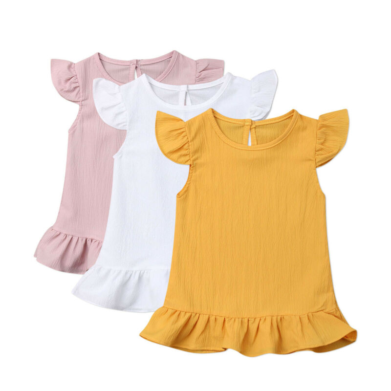 Baby Dresses Girl Summer Toddler Baby Girl Dress Fly Sleeve Solid Dress Clothes Kids Dresses For Girls Sundress Ruffle Clothes