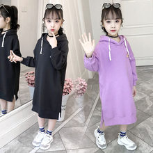 Get more info on the Long Style Kids Hoodies Sweatshirts for Girls Plus Size Long Sleeve Girls Sweatshirt Dress Teenager Side Slit Hoodies Dress 5-13