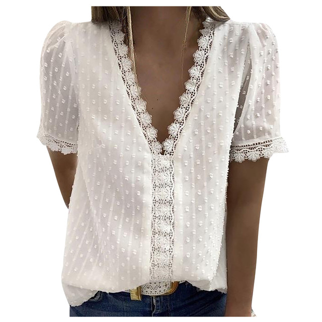 Women Blouse Tops Lace Short Sleeve Large size Loose Casual shirt V-neck Solid Color Top Summer Casual Blouses
