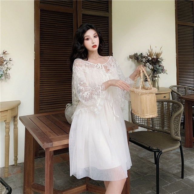 Women dress Actual Photo Of Long Sling Dress With Lace Sunscreen In Soft Yarn In Summer Of Piece Set Women Sleeveless Dress 4