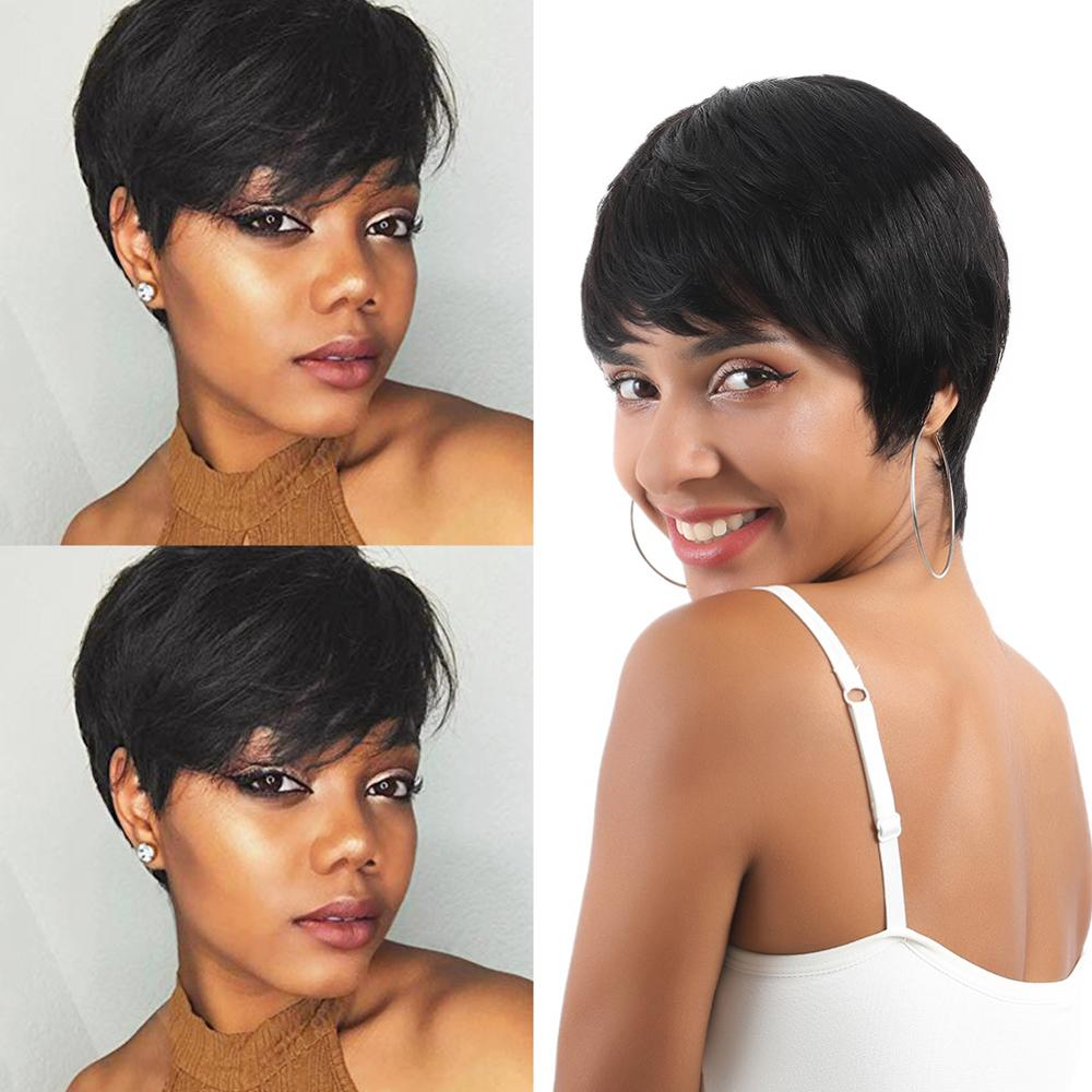 Wignee 6 Inch Short Straight Hair Human Wigs With Free Bangs For Black Women 150% Density Short Pixie Cut Cheap Human Hair Wigs