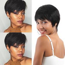 Wignee 6 polegada curto em linha reta cabelo humano perucas com franja livre para preto 150% densidade pixie corte curto barato perucas de cabelo humano
