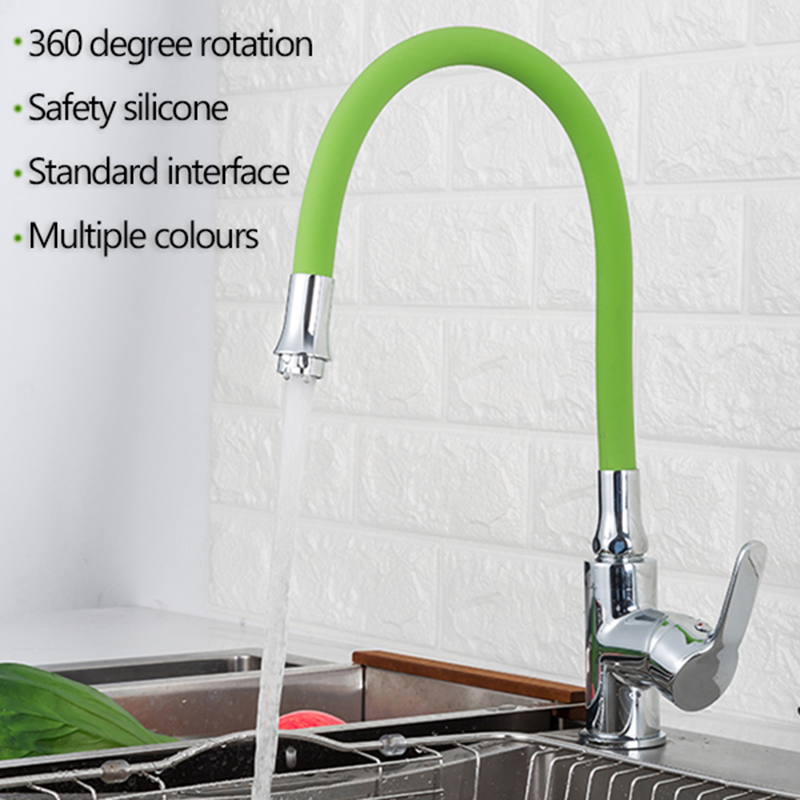 Colorful Silicone Faucet Tube Kitchen 360 Degree Flexible Hose Water Tap Filter General Interface 5 Colors Faucet Accessories