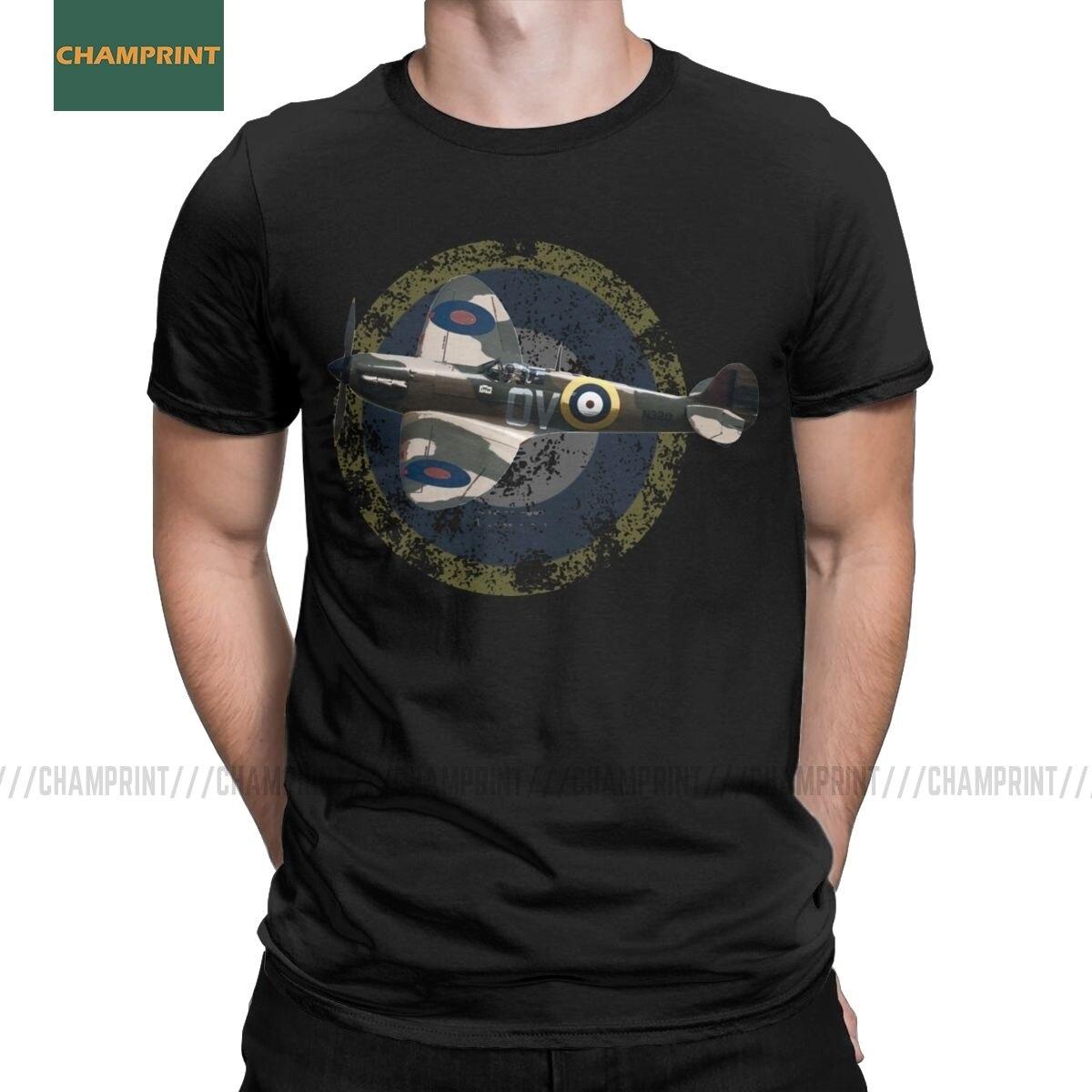 British RAF Supermarine Spitfire Fighter Plane T Shirts Men Cotton T-Shirts Plane WW2 Pilot Aircraft Airplane Tees Short Sleeve