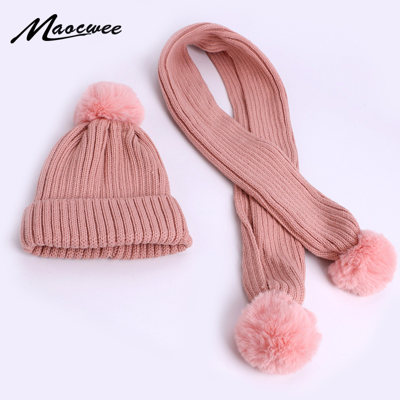 Pompom Hat And Scarf Set For Children Winter Warm Crochet Knitted Hat Scarf Two Piece Set Kid Thick Skullies Beanies With Lining
