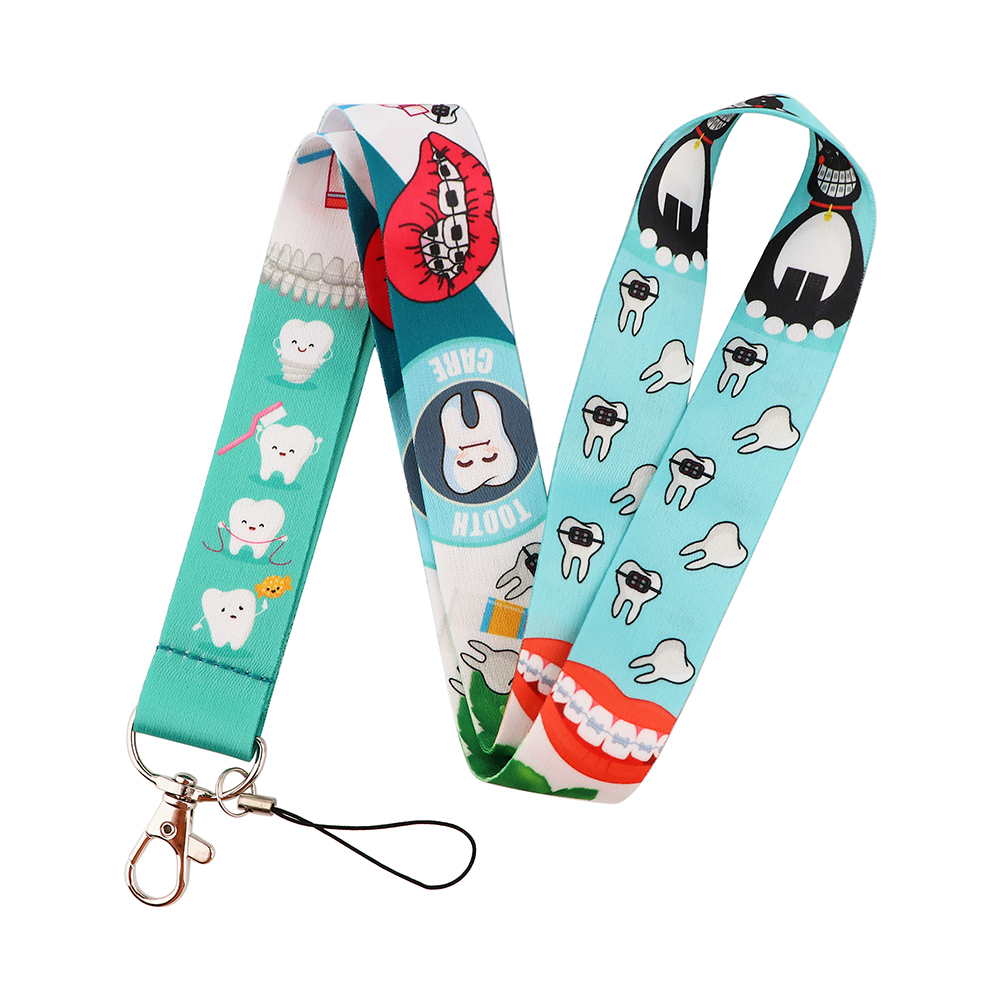 PF506 Dongmanli Tooth Dentist Doctor Nurse Neck Straps lanyard Cute Keychain ID Card Pass Key Ring Badge Holder Jewelry Gifts