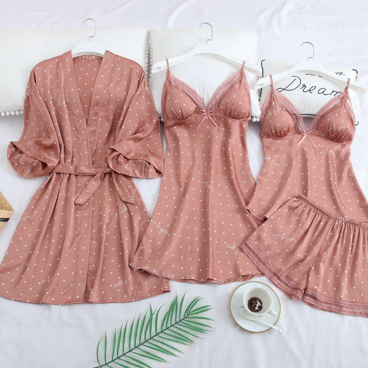 Rosa impressão dot casamento robe conjunto sleepwear casual lingerie íntima camisola de noite macio homewear casa roupas quimono vestido