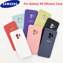 Samsung galaxy s9 plus 100% original caso de silicone líquido sedoso macio-toque capa traseira para galaxy s 9/s9 plus/s9 + escudo do telefone