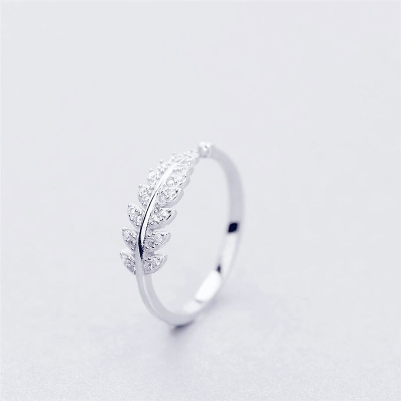 925 Sterling Silver Fresh Sweet Branch Leaf Temperament Personality Fashion Female Trendy Resizable Opening Rings SRI025 1